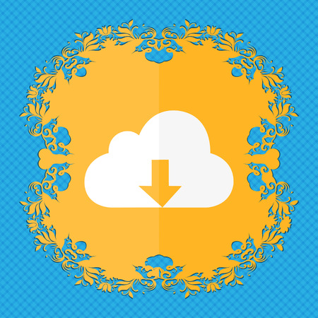 protected database: Backup icon. Floral flat design on a blue abstract background with place for your text. illustration Stock Photo
