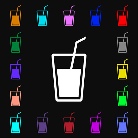 refreshments: Soft drink icon sign. Lots of colorful symbols for your design. illustration