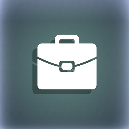 attache: suitcase icon. On the blue-green abstract background with shadow and space for your text. illustration