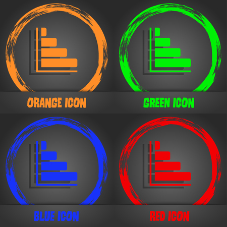 sales trend: Infographic icon. Fashionable modern style. In the orange, green, blue, red design. illustration