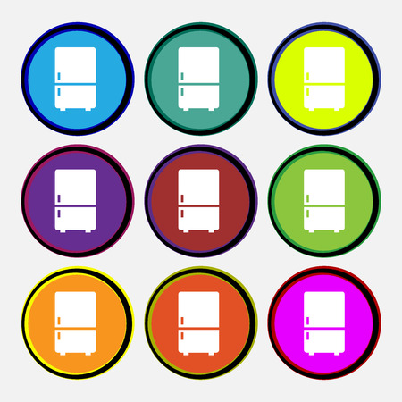 icebox: Refrigerator icon sign. Nine multi colored round buttons. illustration Stock Photo