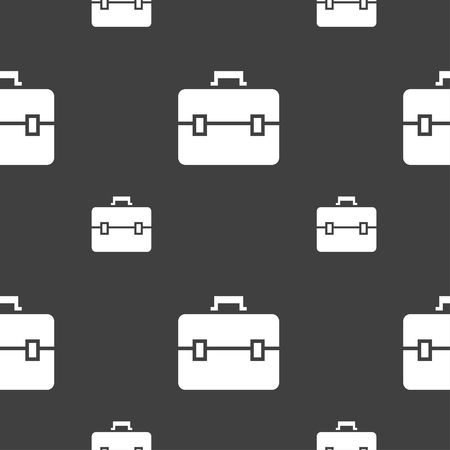 attache: suitcase icon sign. Seamless pattern on a gray background. illustration Stock Photo