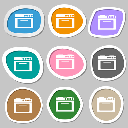 kitchen stove: kitchen stove symbols. Multicolored paper stickers. illustration