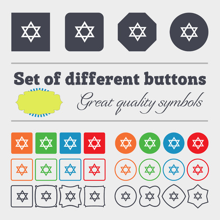 blasphemy: pentagram icon sign. Big set of colorful, diverse, high-quality buttons. illustration Stock Photo
