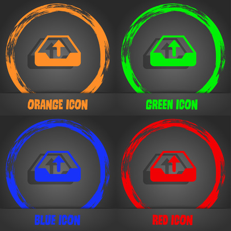 secure backup: Backup icon. Fashionable modern style. In the orange, green, blue, red design. illustration Stock Photo