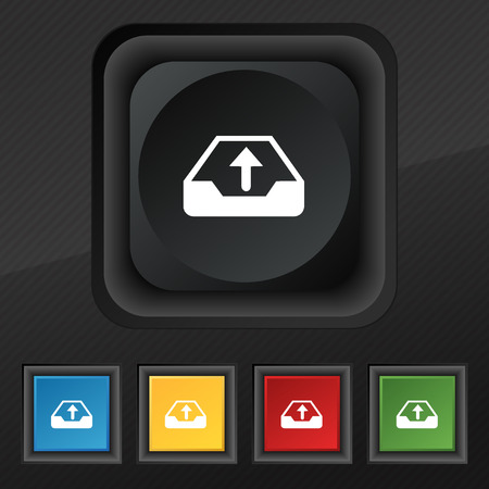 secure backup: Backup icon symbol. Set of five colorful, stylish buttons on black texture for your design. illustration
