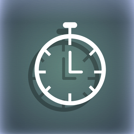 bluegreen: Stopwatch icon. On the blue-green abstract background with shadow and space for your text. illustration