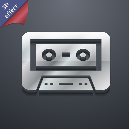 electronic 80s: audiocassette icon symbol. 3D style. Trendy, modern design with space for your text illustration Stock Photo