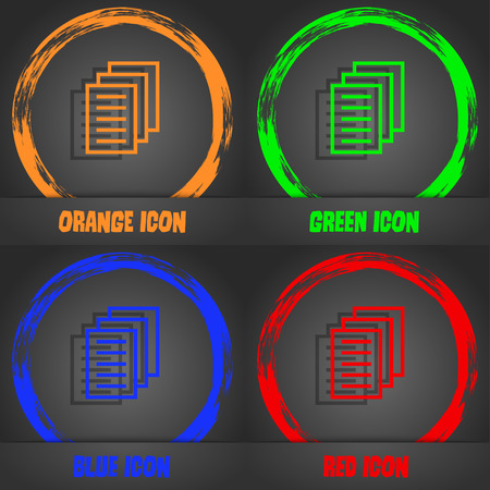 duplicate: Copy file, Duplicate document icon. Fashionable modern style. In the orange, green, blue, red design. illustration