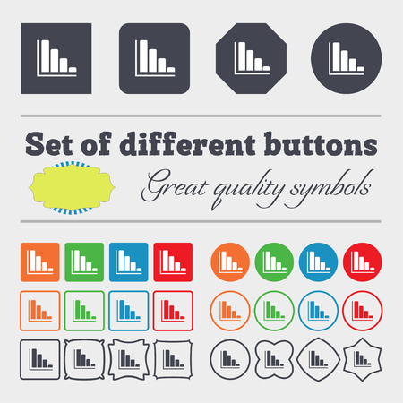 economic forecast: Infographic icon sign. Big set of colorful, diverse, high-quality buttons. illustration