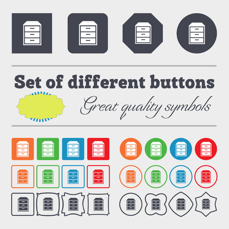 nightstand: nightstand icon sign. Big set of colorful, diverse, high-quality buttons. illustration
