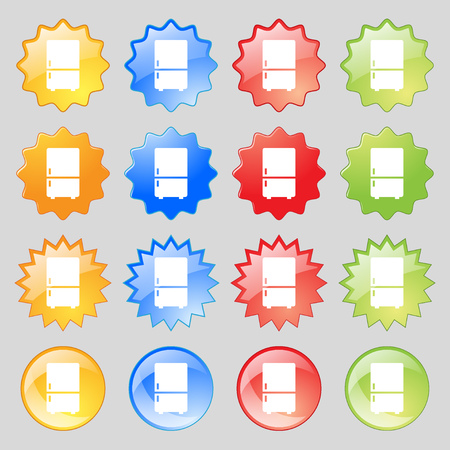 Refrigerator icon sign. Big set of 16 colorful modern buttons for your design. illustration Stock Photo
