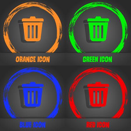 sewage: Bin icon. Fashionable modern style. In the orange, green, blue, red design. illustration