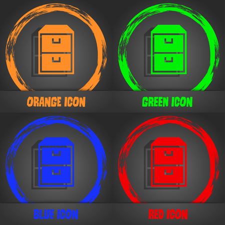 nightstand: nightstand icon. Fashionable modern style. In the orange, green, blue, red design. illustration Stock Photo