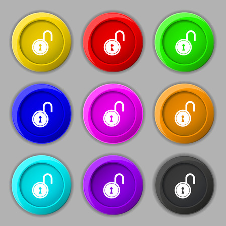 secret code: open lock icon sign. symbol on nine round colourful buttons. illustration Stock Photo