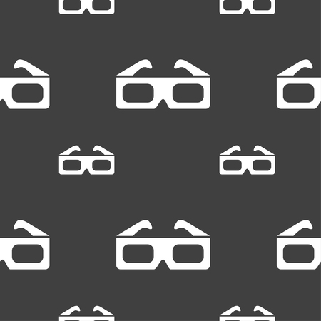 stereoscope: 3d glasses icon sign. Seamless pattern on a gray background. illustration