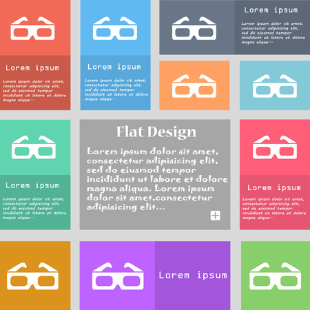 stereoscope: 3d glasses icon sign. Set of multicolored buttons with space for text. illustration