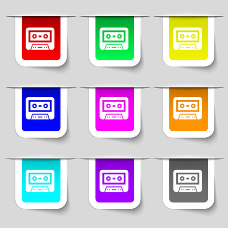 electronic 80s: audiocassette icon sign. Set of multicolored modern labels for your design. illustration Stock Photo