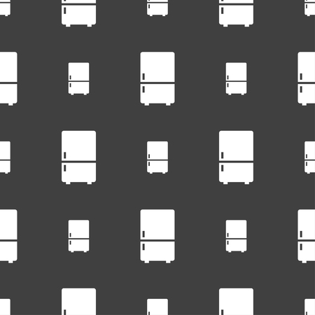 coolness: Refrigerator icon sign. Seamless pattern on a gray background. illustration