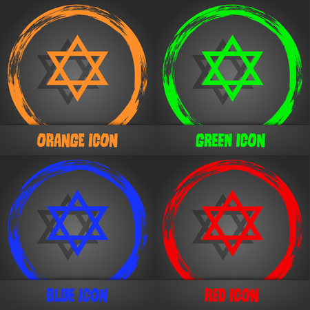 pentagram icon. Fashionable modern style. In the orange, green, blue, red design. illustration Stock Photo