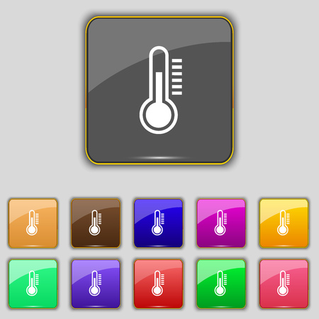 rising temperature: Thermometer icon sign. Set with eleven colored buttons for your site. Vector illustration Illustration
