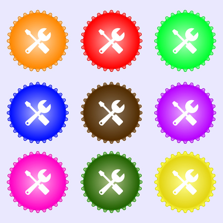 tuning turn screw: wrench and screwdriver icon sign. A set of nine different colored labels. Vector illustration Illustration