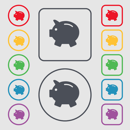 mumps: Piggy bank - saving money icon sign. symbol on the Round and square buttons with frame. Vector illustration