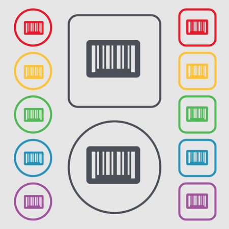 código de barras: barcode icon sign. symbol on the Round and square buttons with frame. Vector illustration