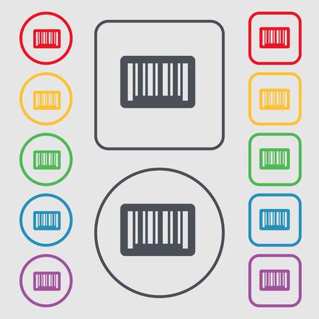 codigo barras: icono de la muestra de c�digo de barras. s�mbolo en el botones cuadrados con Marco redondo y. ilustraci�n vectorial Vectores