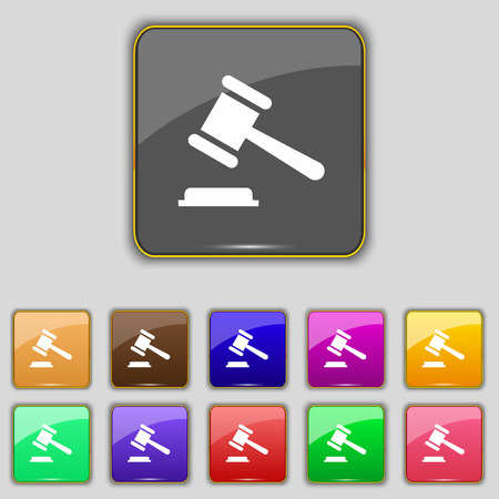 bidder: judge or auction hammer icon sign. Set with eleven colored buttons for your site. Vector illustration Illustration