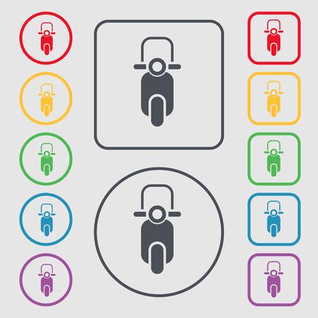 scooter: icono de la muestra scooter. s�mbolo en el botones cuadrados con Marco redondo y. ilustraci�n vectorial