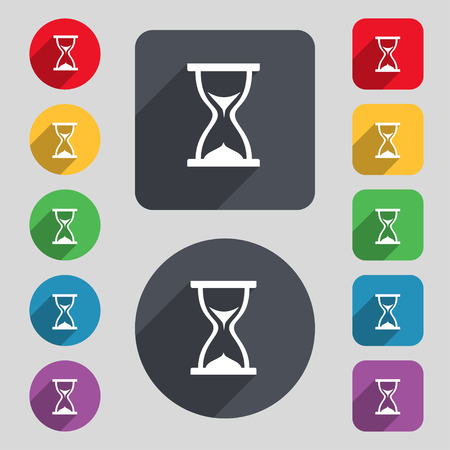 timepieces: hourglass icon sign. A set of 12 colored buttons and a long shadow. Flat design. Vector illustration