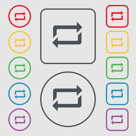 repeat icon sign. symbol on the Round and square buttons with frame. Vector illustration
