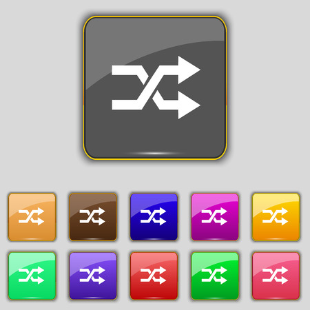 shuffle: shuffle icon sign. Set with eleven colored buttons for your site. Vector illustration Illustration