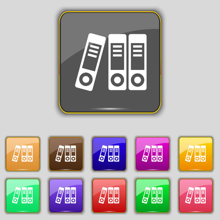 noticeable: binders  icon sign. Set with eleven colored buttons for your site. Vector illustration