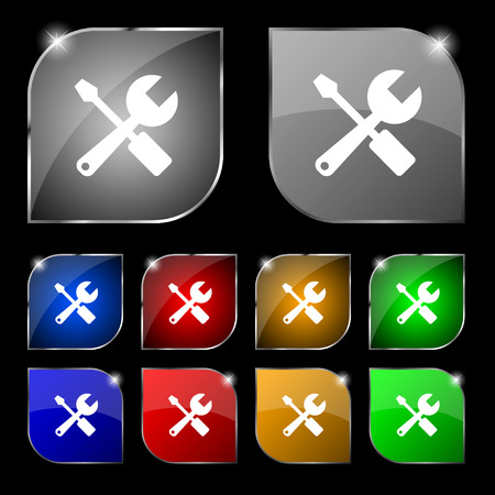 tuning turn screw: wrench and screwdriver icon sign. Set of ten colorful buttons with glare. Vector illustration Illustration