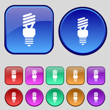 compact fluorescent lightbulb: fluorescent lamp icon sign. A set of twelve vintage buttons for your design. Vector illustration Illustration