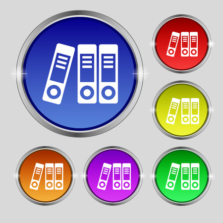noticeable: binders  icon sign. Round symbol on bright colourful buttons. Vector illustration