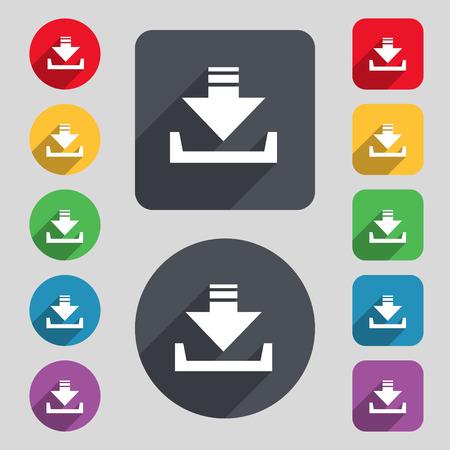 Icône Restaurer signe. Un ensemble de 12 boutons colorés et une longue ombre. Design plat. Vector illustration