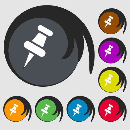 push pin icon: push pin icon. Symbols on eight colored buttons. Vector illustration Illustration