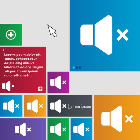 computer socket: No Volume icon sign. buttons. Modern interface website buttons with cursor pointer. Vector illustration