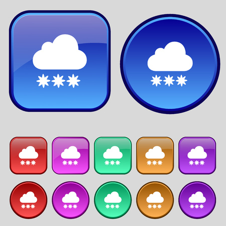 predict: snow cloud icon sign. A set of twelve vintage buttons for your design. Vector illustration