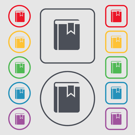 guidebook: Book bookmark icon sign. symbol on the Round and square buttons with frame. Vector illustration