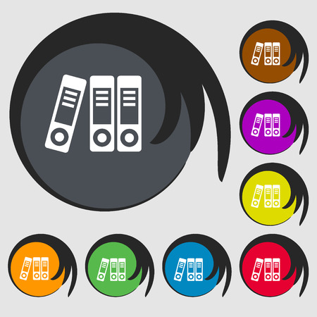 classify: binders  icon. Symbols on eight colored buttons. Vector illustration