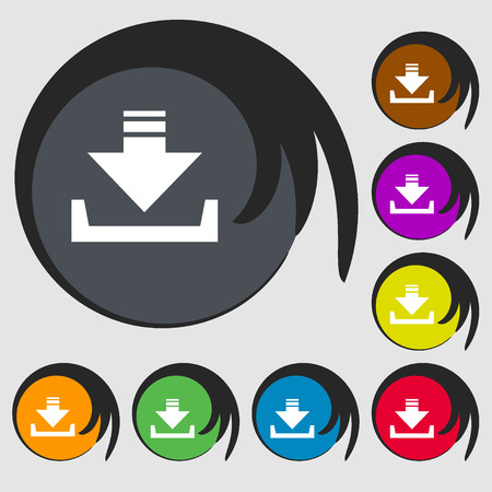 restore: Restore icon. Symbols on eight colored buttons. Vector illustration