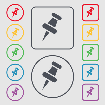 tacks: push pin icon sign. symbol on the Round and square buttons with frame. Vector illustration Illustration