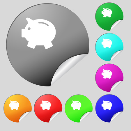 mumps: Piggy bank - saving money icon sign. Set of eight multi colored round buttons, stickers. Vector illustration