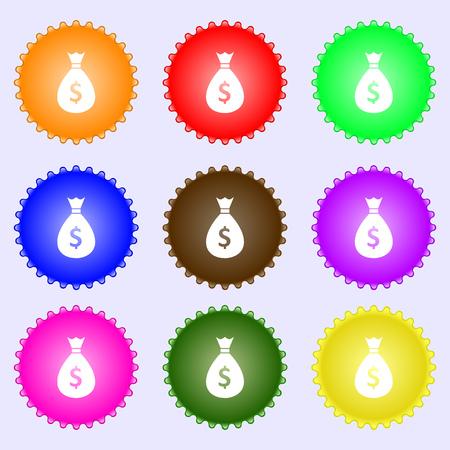 million: dollar money bag icon sign. A set of nine different colored labels. Vector illustration Illustration