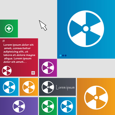 radioactive tank and warning sign: radioactive icon sign. buttons. Modern interface website buttons with cursor pointer. Vector illustration