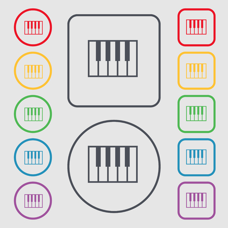 piano key: piano key icon sign. symbol on the Round and square buttons with frame. Vector illustration